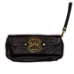 Tory Burch Dark Brown Leather Convertible Clutch